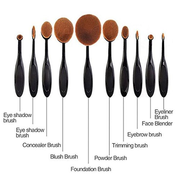 10 Piece Oval Makeup Brush Set - Eyebrow, Foundation Cream, Powder, Blush Makeup Tools