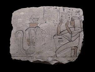 Limestone ostracon: on one side only, a scene in black ink depicting the workman Khnummose adoring the snake-goddess Meresger. The accompanying text also mentions his sons Penniut and Weskhet-nemtet.