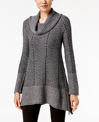 Jeanne Pierre Herringbone Tunic Sweater - Tunic Sweaters - SLP - Macy's