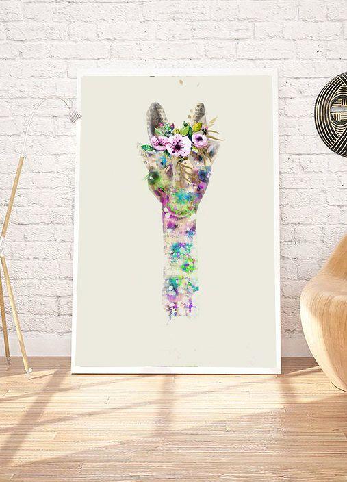 Giraffe Painting Giraffe Art Prints Giraffe Wall Art