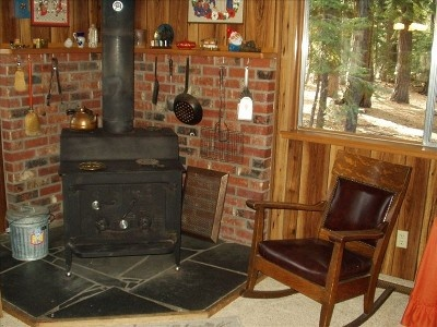 Our woodburning stove makes nice evening fires.