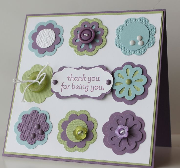 Cards: Colors Combos, Flowers Punch, Cute Cards, Flowers Cards, Layered Punch, Pretty Colors, Thanks You Cards, Punch Cards, Cards Diy