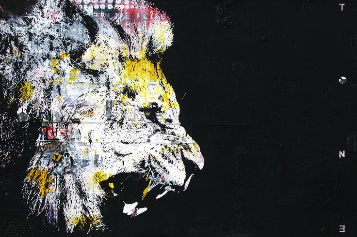 """LE ROI LION.Technique mixte sur toile. 122 x 183 cm / Mixed media on canvas. 48'' x 72"""". Décembre 2014, december. Artiste-peintre: Tone. www.t-pakap.net"""