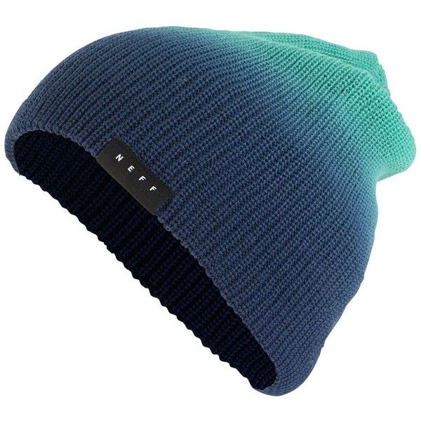 Neff Men's Ombre Dyed Beanie ($18) ❤ liked on Polyvore featuring men's fashion, men's accessories, men's hats, teal navy, mens beanie, mens waxed cotton hat, mens beanie hats and mens beanie caps