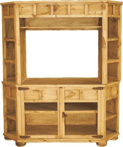 Rustic Corner TV Stand, Pine Wood Corner TV stand