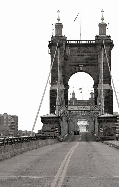 John A. Roebling Bridge  The Roebling Bridge between Covington, Kentucky and Cincinnati, Ohio opened to traffic on January 1, 1867.  Its central span of 1057 feet was the longest in the world. The bridge was recognized as a National Historical Landmark in 1975. The bridge was designated as a National Civil Engineering Landmark in 1982.  #Cincinnati