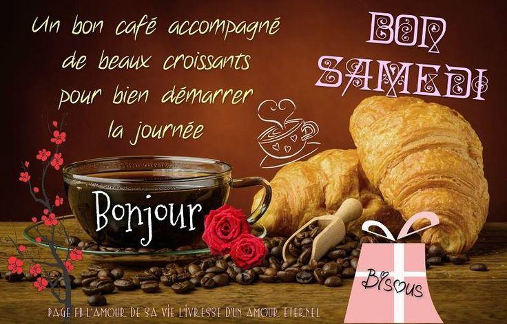 Un bon café accompagné de beaux croissants pour bien démarrer la journée Bon Samedi, Bonjour, Bisous #samedi cafe croissant petit dejeuner bon samedi