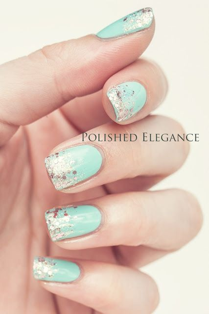 Essie - Mint Candy Apple, A-england - She Walks In Beauty glitter gradient nail art manicure nail polish