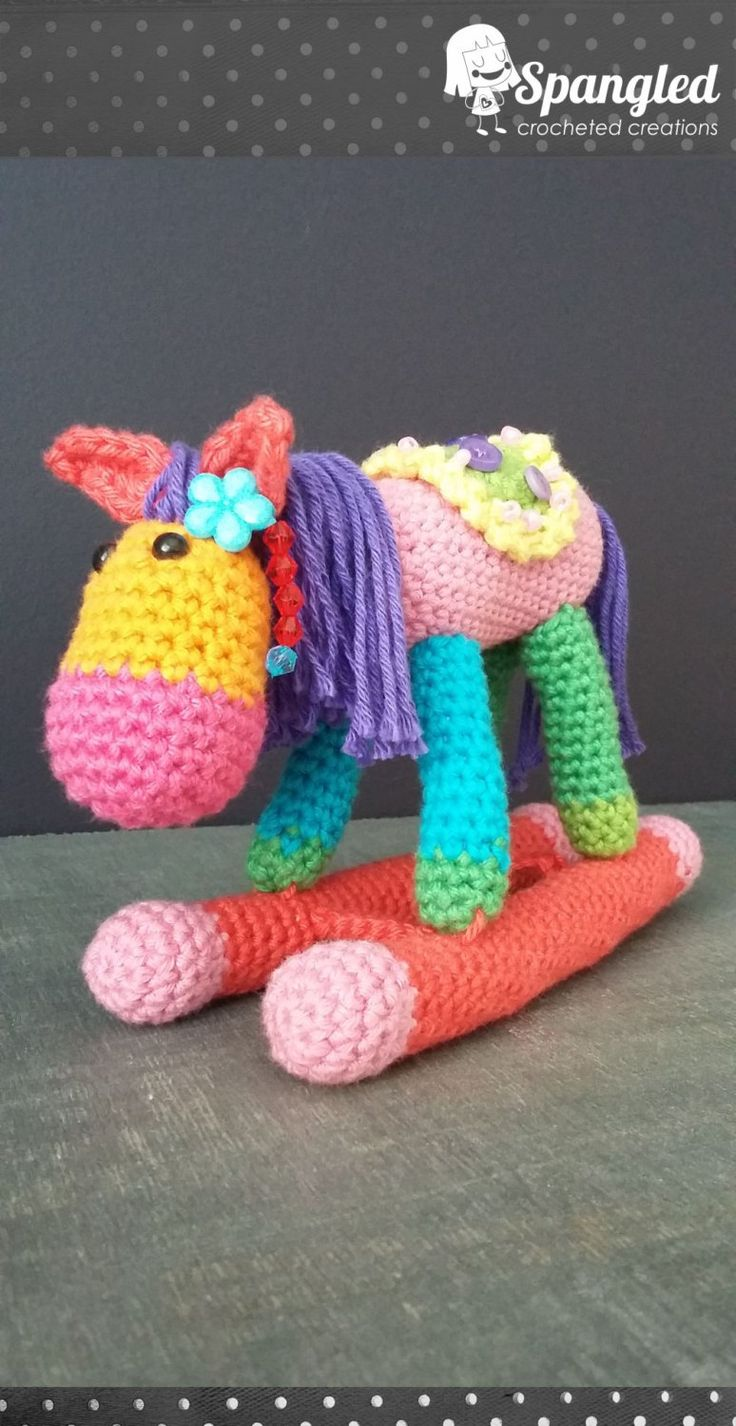 Rocking Horse on Blanket Amigurumi by SpangledCrochet on Etsy
