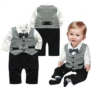 Baby Boy Wedding Check Tuxedo Suit Bowtie Romper OnePiece Bodysuit Outfit