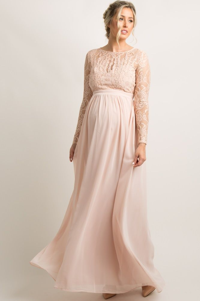 fee3c79b23d Light Pink Lace Trim Open Back Maternity Evening Gown A solid hued