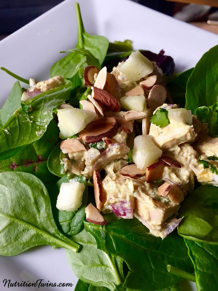 10-Minute Curried Chicken Salad | Only 201 Calories | Fast, Easy & Flavor-packed, Healthy Chicken Salad | 26 grams protein to keep you full for hours | For MORE RECIPES, Nutrition & Fitness Tips please SIGN UP for our FREE NEWSLETTER NutritionTwins.com