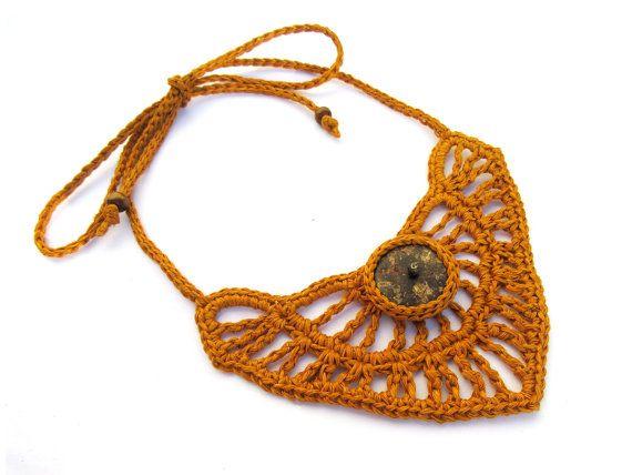 Gehaakte ketting tribal ketting, vezel ketting, inheemse ketting, linnen ketting, Cocos Hout, eiken buff, giada cortellini, natuur geïnspireerd, zomer