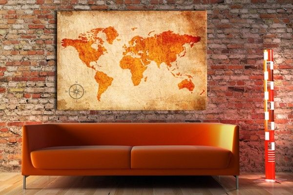 toile photo carte du monde deco pinterest toile photos et orange. Black Bedroom Furniture Sets. Home Design Ideas