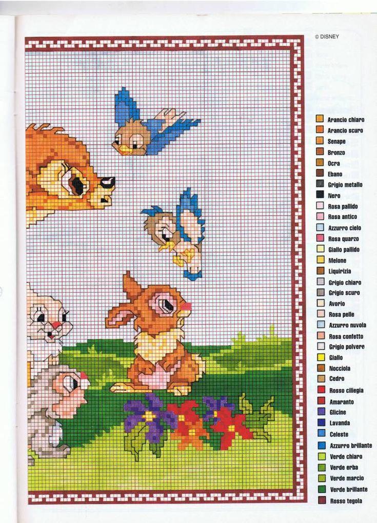 Pannello a mezzo punto con Bambi e i suoi amici (2) - magiedifilo.it punto croce uncinetto schemi gratis hobby creativi