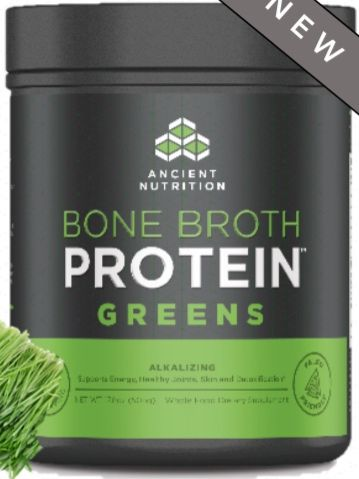 Bone Broth Protein and Greens is here and in stock! A NEW breakthrough in nutritional supplementation—making the benefits of bone broth available to everyone in a convenient, easy-to-mix, portable great tasting protein powder—complete with 20g of gut friendly protein per serving.