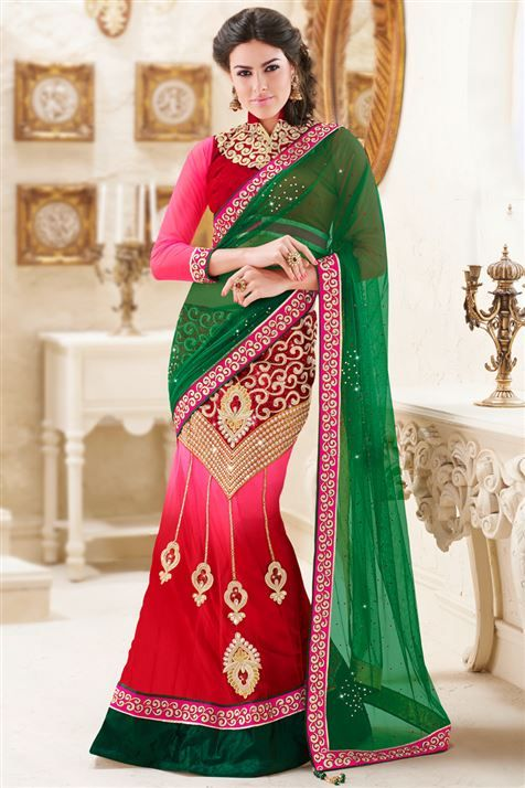 Net Green, Pink, Red Designer Indian Lehenga Style Saree with Blouse