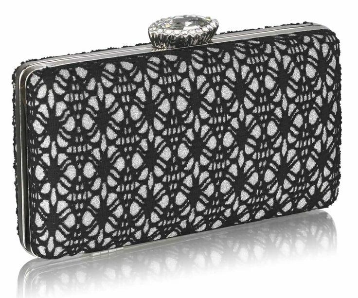 Black & Silver Lace Hard Case Evening Clutch Bag