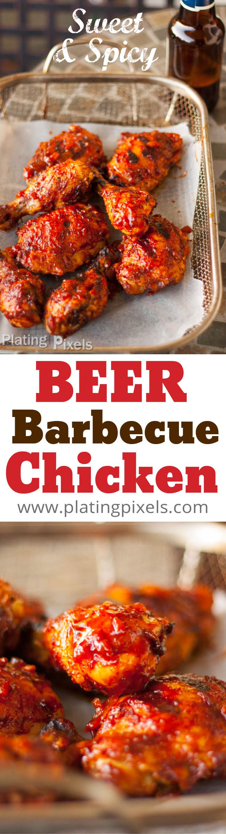 Sweet and Spicy Beer Barbecue Chicken by Plating Pixels. Beer barbecue chicken with sweetness and just the right amount of spicy flavor. Juicy, tender chicken that is beautifully coated with a rich, moist sauce (gluten-free). - www.platingpixels.com