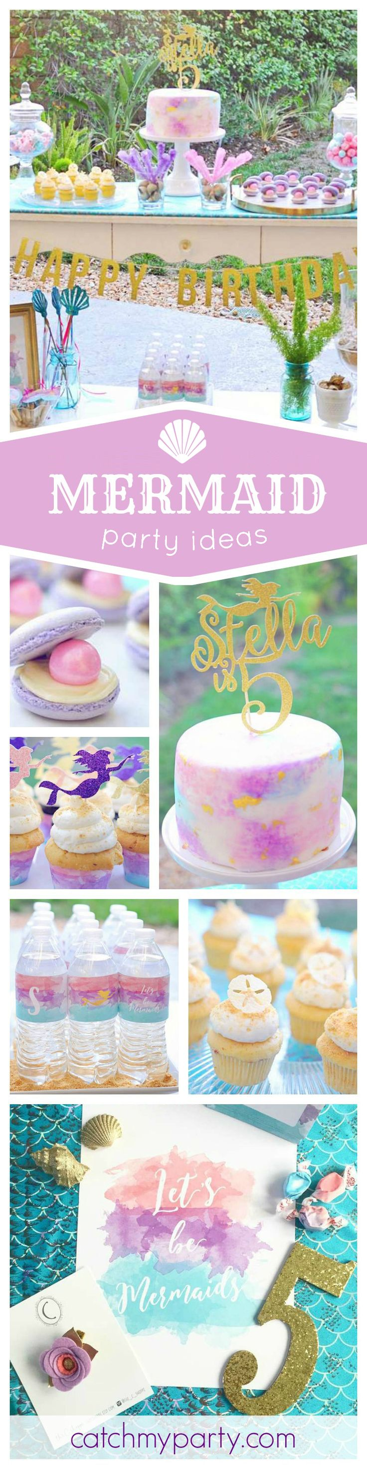 Girls love mermaid parties & this one is absolutely stunning! The desserts and toppers are gorgeous! See more party ideas and share yours at CatchMyParty.com