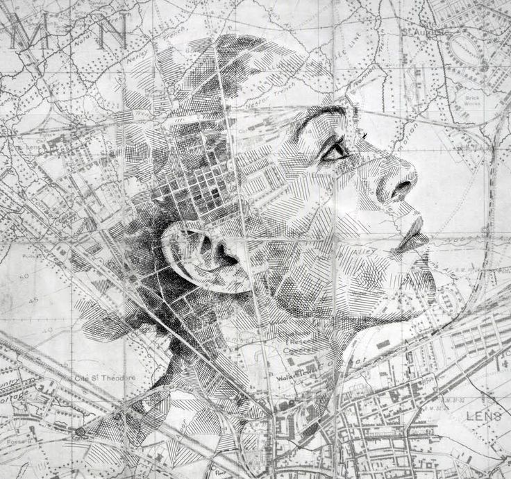 English artist Ed Fairburn (previously) uses vintage road maps and star charts as canvases for drawn portraits. Cross-hatched patterns and shaded regions inside roads, borders, and rivers assimilate into the contours of faces, as if the images had always been secretly hidden in the map's topo