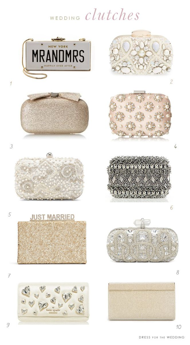 A collection of clutches for weddings.