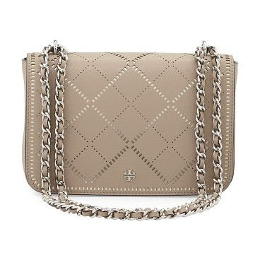 Robinson crosshatch saffiano leather shoulder bag by Tory Burch. Tory Burch crosshatch saffiano leather shoulder bag. Silvertone hardware. Woven chain and leather...