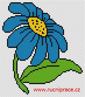 Blue flower, free cross stitch patterns and charts - www.free-cross-stitch.rucniprace.cz