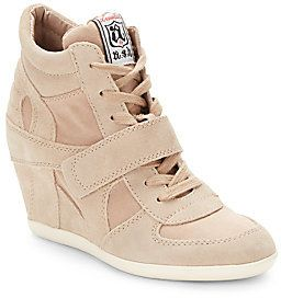 $195, Ash Bowie Suede Canvas Wedge Sneakers. Sold by Off 5th.