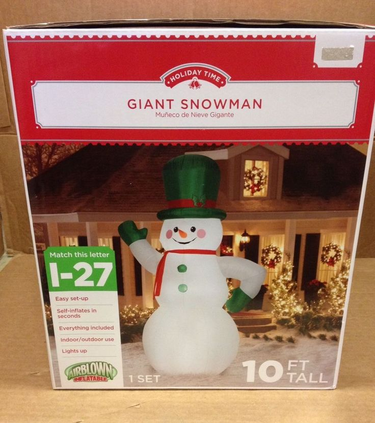 GIANT 10' TALL WAVING SNOWMAN GREEN HAT Christmas Airblown Inflatable Yard Decor