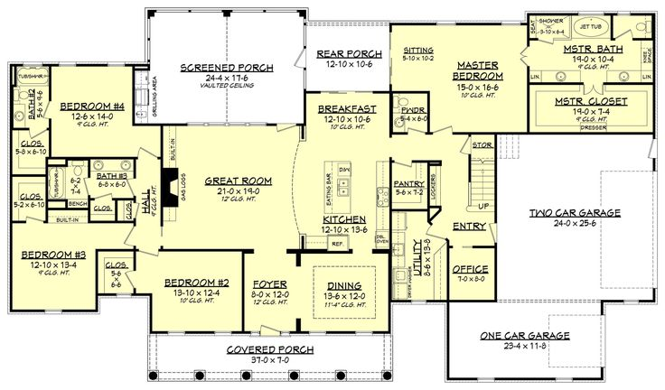 This Traditional style home plan with Country influences (House Plan #142-1167) has over 3100 sq. ft. of living space. The 1 story floor plan has 4 bedrooms.