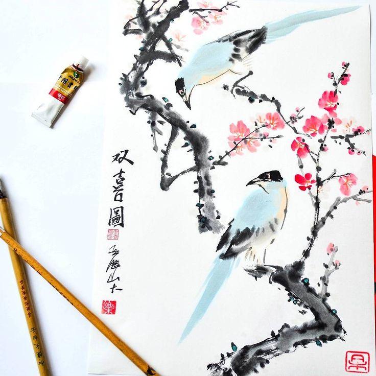 188 отметок «Нравится», 8 комментариев — Китайская живопись Гохуа (@pro.gohua) в Instagram: «Живой мастер-класс в Москве!🎉 - 8 июня в 18.00. На фото голубые сороки на ветке сливы. Хотите…»