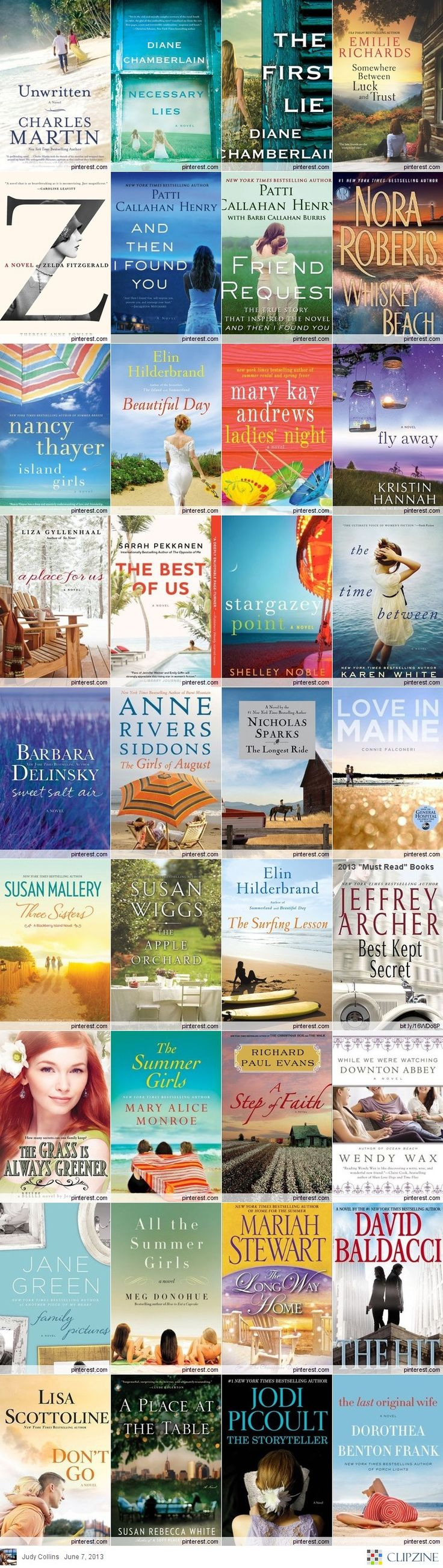 """2013 """"Must Read"""" Books...pinning for our book club at work, though I always fail at the reading part!"""