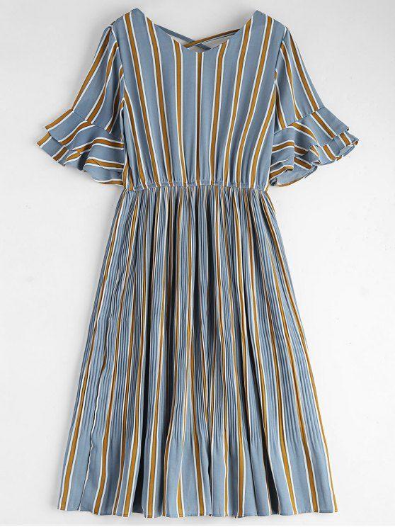 Criss Cross Stripes Pleated Midi Dress - STRIPE M