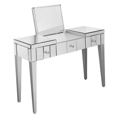 Febland Mirrored Three Drawer Console Table with Folding Mirror - BedroomFurnitureWorld