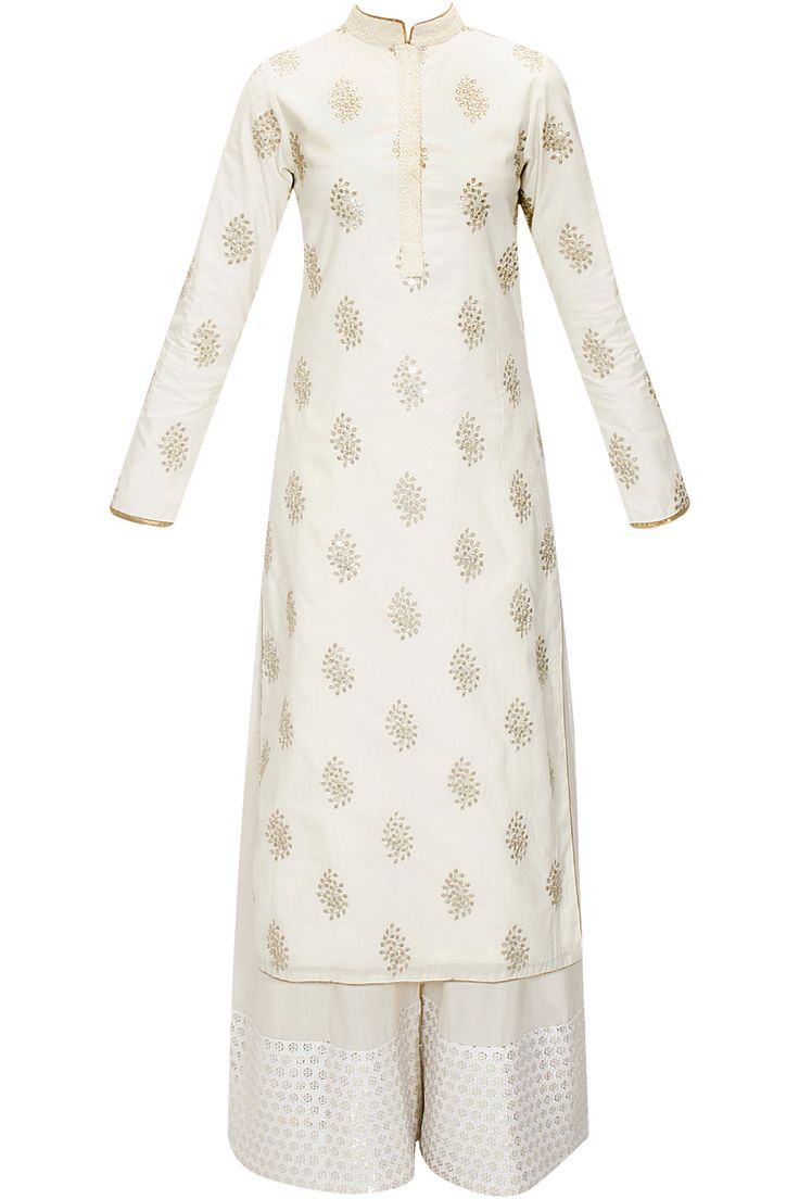 White floral embroidered kurta with white cotton pants available only at Pernia's Pop-Up Shop.