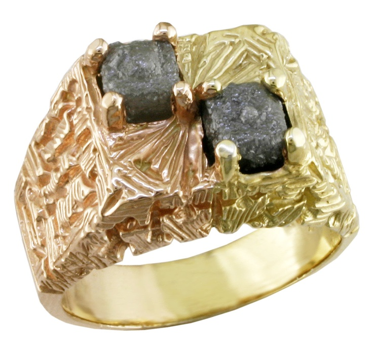 Unique Rough Diamonds MANgagement - 2 x 2ct Canadian rough diamonds (4ct tdw) set in sterling silver - plated in Rose and Yellow gold. Pop the question - will you marry me! Diamonds are forever!  ashechtm@rogers.com for more info