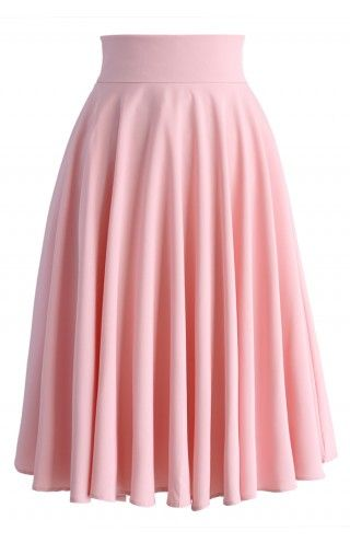 Creamy Pleated Midi Skirt in Pink - Retro, Indie and Unique Fashion