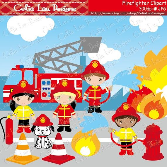 Cute Firefighter Clipart Fireman clip art CG035 by CeliaLauDesigns