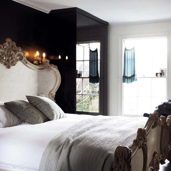 love this bed: Black White, Master Bedrooms, Beds Frames, Black Bedrooms, Black Accent Wall, Black Rooms, Bedrooms Ideas, Dark Wall, Black Wall