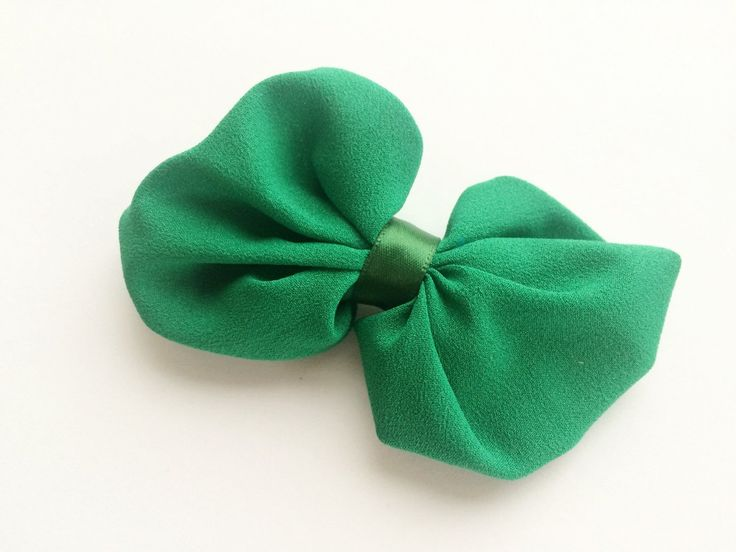 Green Hair Bow Barrette for St. Patrick's Day