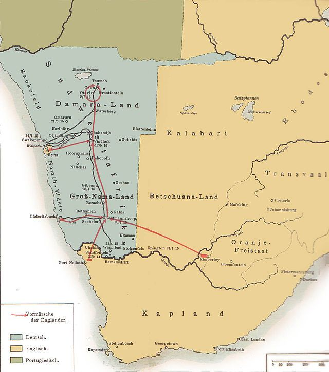 German South-West Africa, 1915. The South-West Africa Campaign was the conquest and occupation of German South West Africa (Namibia), by forces from the Union of South Africa acting on behalf of the British Imperial Government at the beginning of the First World War.