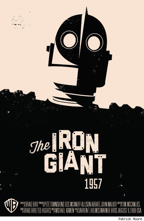 Because the film was set in 1957 this poster is designed in a way to look like it was straight out of the 50s, the background color was popular back then and coupled with the plain black print look this produces a cheap good looking poster. Although it looks like it has been hand done The Iron Giant came out in 1999 which means it has been made digitally to look hand made - Caitlan Francis