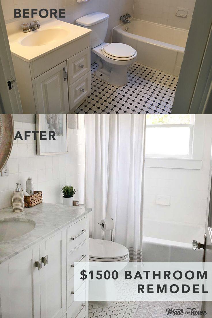 Badezimmer Dollar Ein Fur Inspiration Kleines Man Unter Verwandelt Wie How To Transform A Sma Bathrooms Remodel Bathroom Renovation Diy Small Remodel