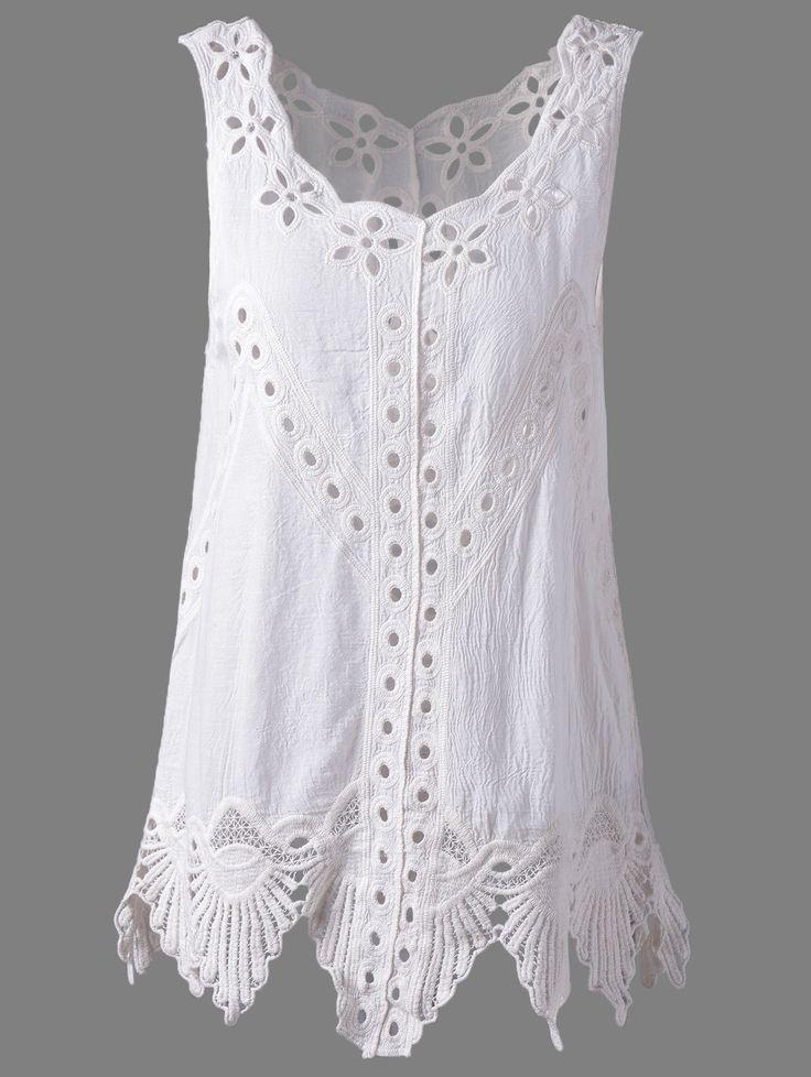 Bohemian Scoop Neck Solid Color Crochet Sleeveless Blouse For Women