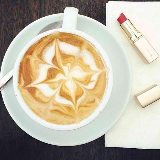 morning cappuchino and lipstick