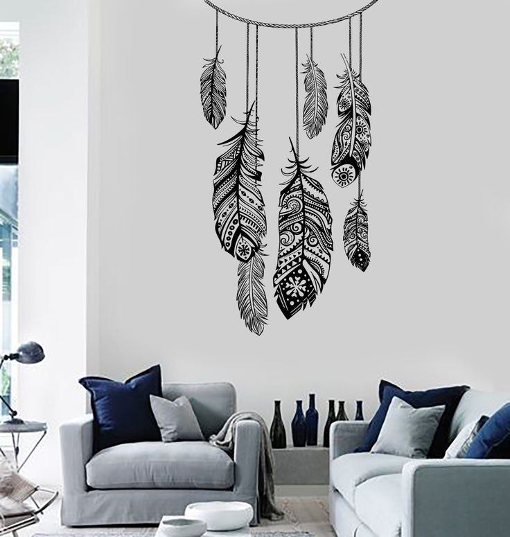 wall vinyl decal dreamcatcher dream catcher ethnic bedroom. Black Bedroom Furniture Sets. Home Design Ideas