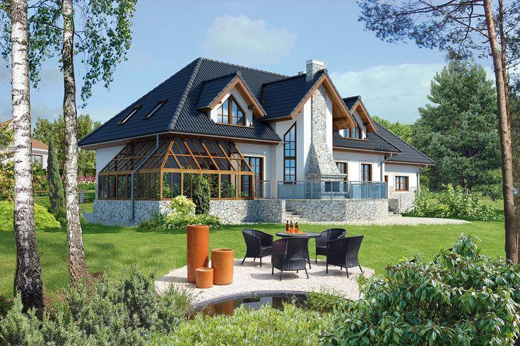 """Murator C20a """"Dworek - wariant I (podpiwniczony)"""" - duży, reprezentacyjny dom utrzymany w stylistyce dworkowej."""