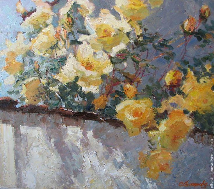 """Купить Картина маслом """"Желтые розы"""" - желтые розы, желтые цветы, картина маслом цветы"""