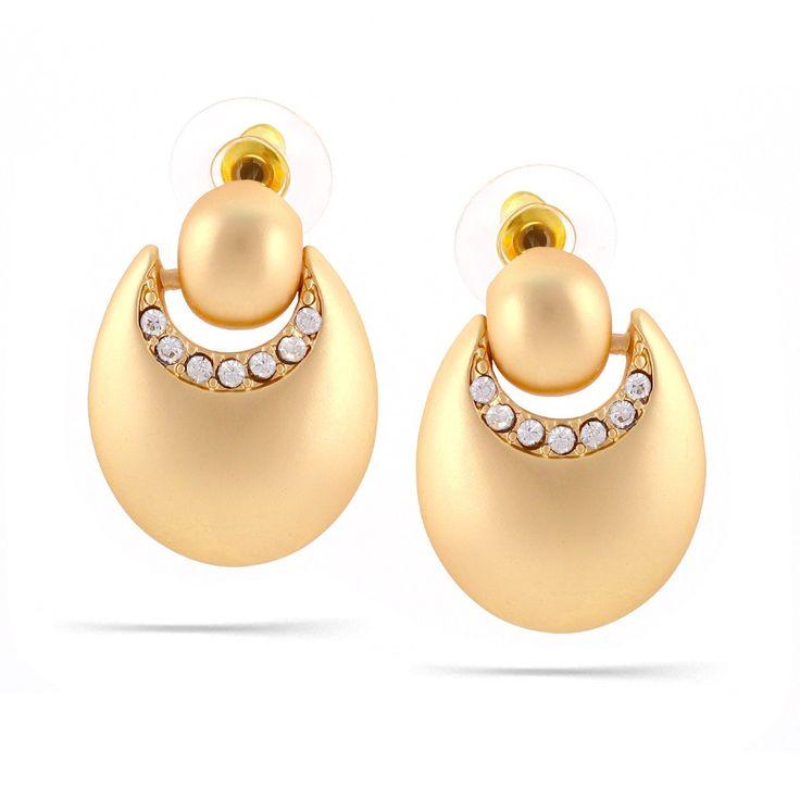 Tazza-Matte Gold-Tone Metal Crystal Hoop Earrings